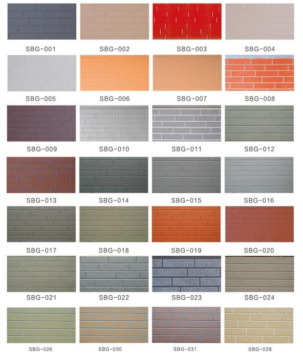 Brick patterns PU insulated exterior wall panels